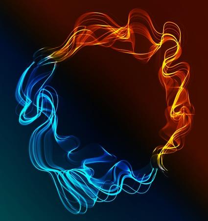 fuego azul: Resumen de fondo azul y rojo, hielo y fuego sobre la oscuridad
