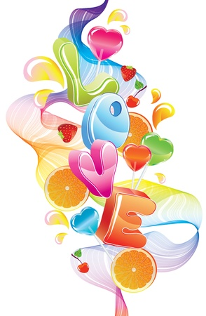 Valentine background with sweets, fruit, berries and love, abstract wave over white