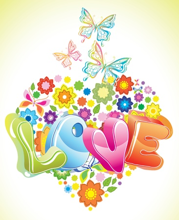 Bright Valentine floral background with butterfly Vector