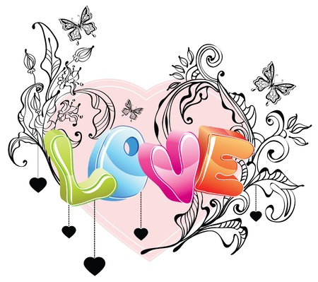 Valentine background with floral ornament and 3d love over white Vector
