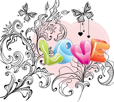 Valentine background with floral ornament and love over white Vector