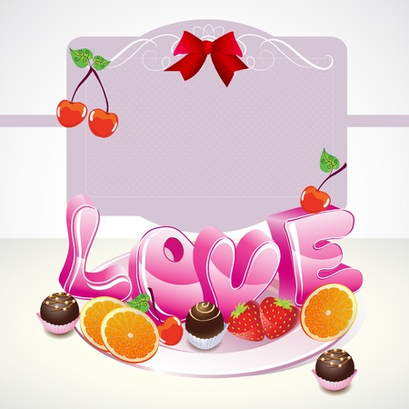 Valentine background with sweets, fruit, berries and love on the plate Vector