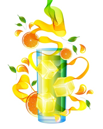 Orange juice with splash, abstract wave and leaves over white Illustration