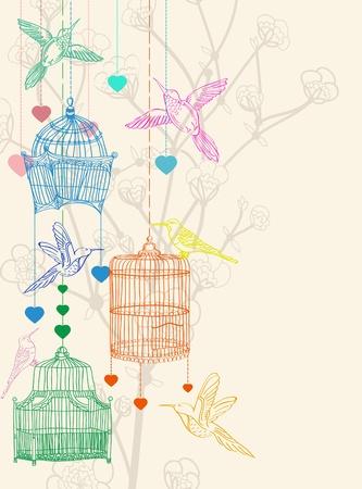 bird clipart: San Valentino sfondo disegno a mano con gli uccelli, fiori e gabbia, bella illustrazione Vettoriali