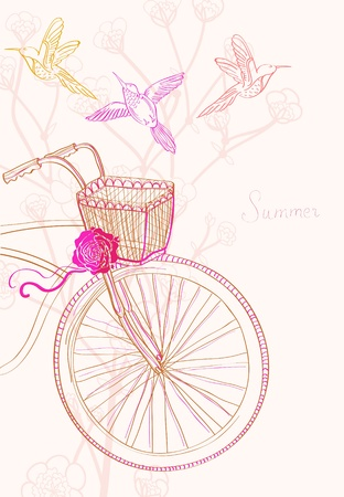 bicycle silhouette: Background with bicycle and birds, illustration