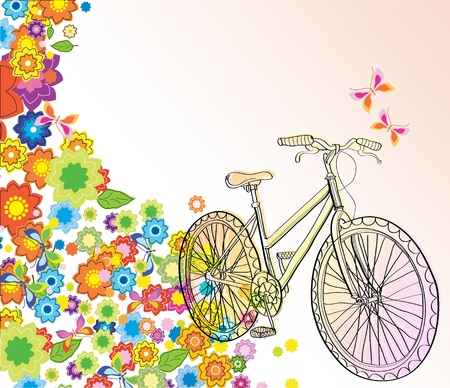 Background with bicycle and beautiful flowers, illustration