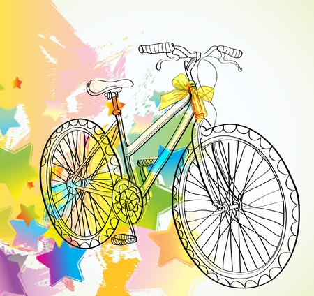 Background with bicycle and stars, illustration Illustration