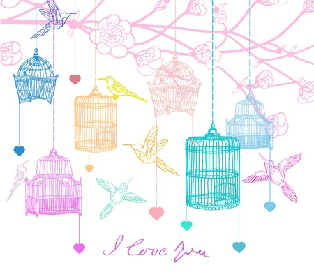 in a cage: Valentine hand drawing background with birds, flowers and cage, beautiful illustration