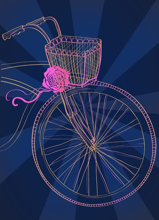 Background with bicycle and rose, illustration Vector