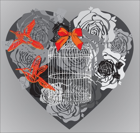 freedom couple: Valentine background with floral heart, birds and cage, illustration