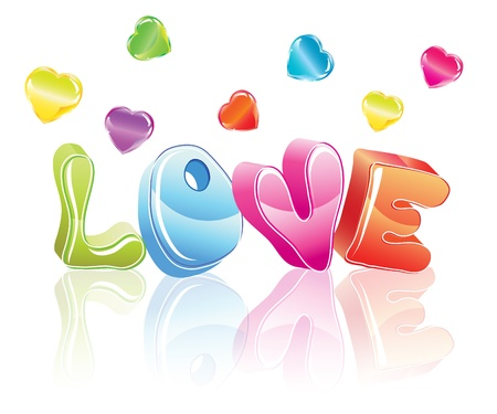 love letters: 3d love word with hearts