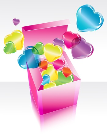 postcard box: Open pink gift box with color flying hearts