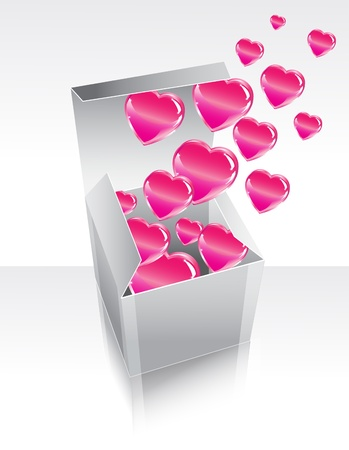 Box with pink flying hearts Vector