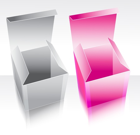 packer: Two box pink and gray with reflection