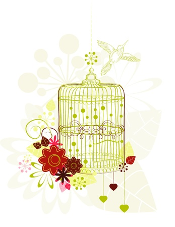 Cage with flowers and bird over white