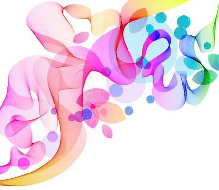 Color de fondo abstracto con las olas y las hojas, ilustración