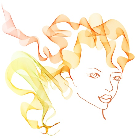 beautiful woman with magnificent hair illustration Illustration