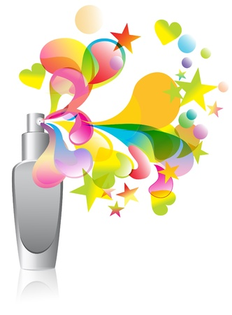Background with cosmetic bottle splash over white
