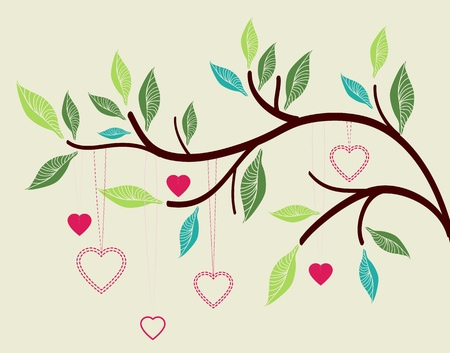 happiness concept: Beautiful background with tree branch and hearts,Valentine illustration