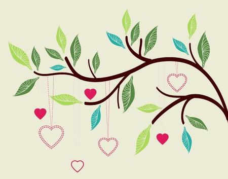 happiness: Hermoso fondo con la rama de un árbol y los corazones, la ilustración de San Valentín