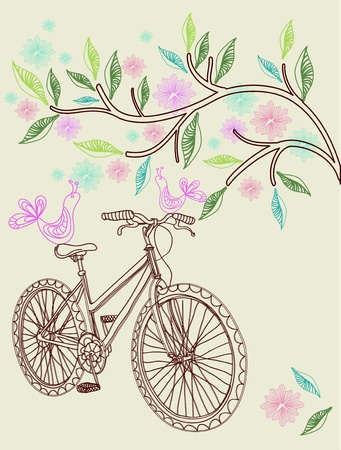 cycle ride: Floral nature background with bike