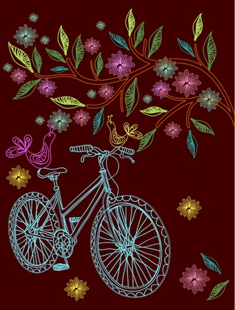 pedaling: Beautiful background with tree, flowers and bicycle, illustration Illustration