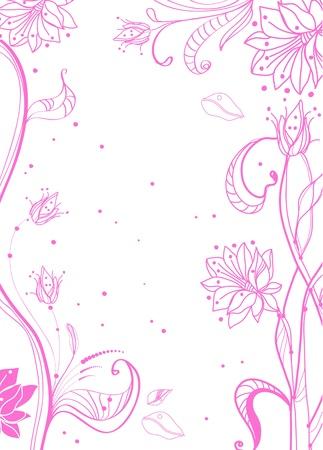 pink swirl: Floral pink tender background over white Illustration