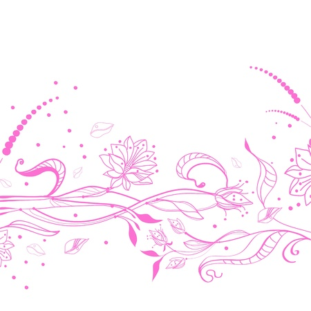 Floral pink background over white Vector