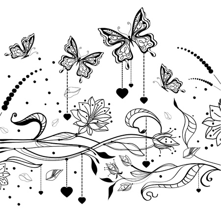 Floral Valentine background with butterflies, illustration Vector