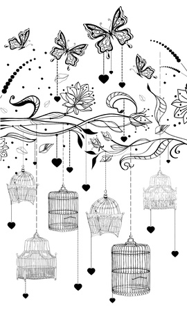 birthday wishes: Floral Valentine background with cages, illustration Illustration