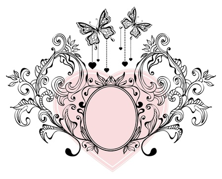 Floral Valentine background with butterflies Vector