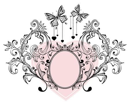 Fondo floral de San Valentín con las mariposas