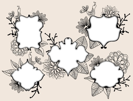 Set of beautiful labels with floral elements and bird Vector