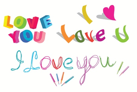 i love you: I love you - set of  stylish text over white