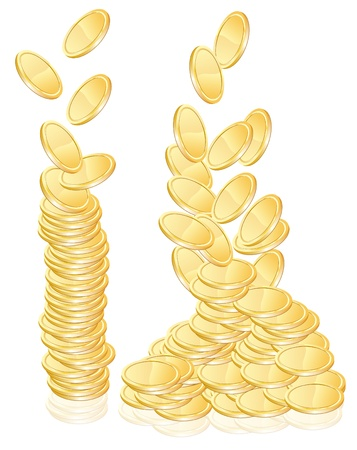 pennies: Gold coins illustration over white
