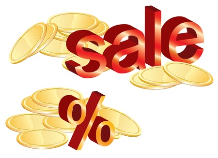 Gold coins illustration, sale and percent, illustration Vector