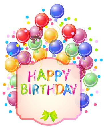 happy birthday balloons: Happy birthday bright card, beautiful celebration background Illustration