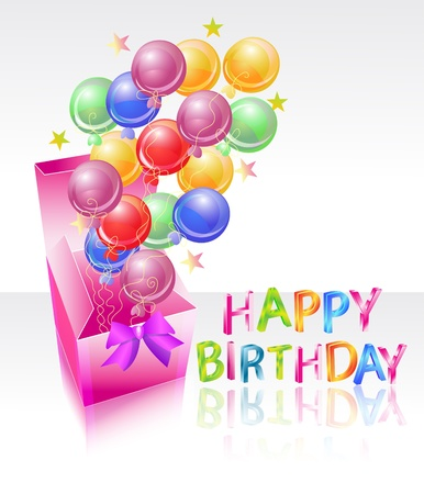 bright box with air balloones and happy birthday, beautiful illustration Vector