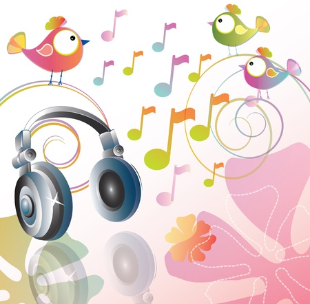 Beautiful illustration with headphones and cartoon birds Stock Vector - 12076058