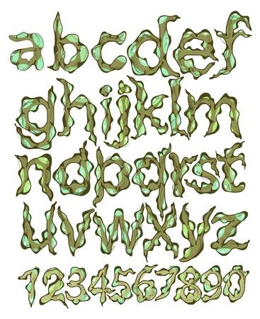 feelers: alfabeto y los n�meros, dibujos animados verde Vectores