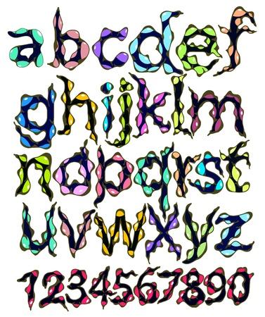 monstruo alfabeto y n�meros, ilustraci�n de dibujos animados