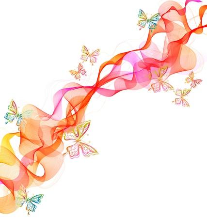 흰색 위에 나비와 함께 아름 다운 추상 그림 일러스트