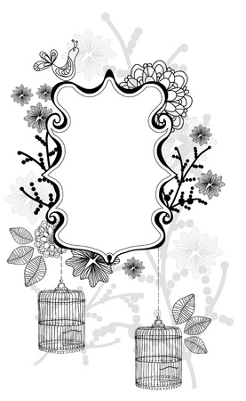 Beautiful floral illustration with cage over white Vector