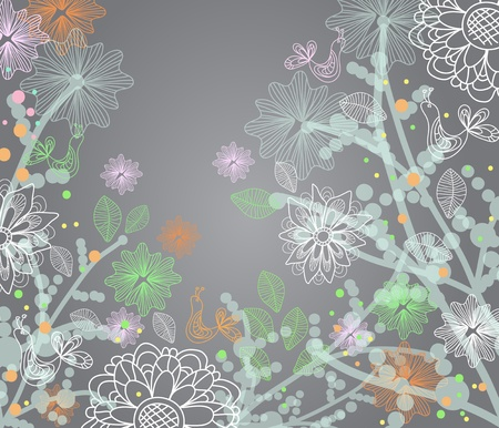 Beautiful tender floral illustration with birds Vector