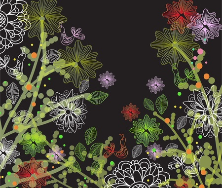 Beautiful floral illustration with birds Vector