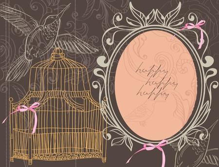 スクラップブッキング: バレンタイン手描きの背景に花、ケージ  イラスト・ベクター素材