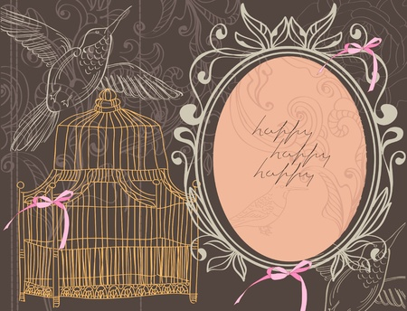in a cage: Valentine hand drawing background with flowers and cage