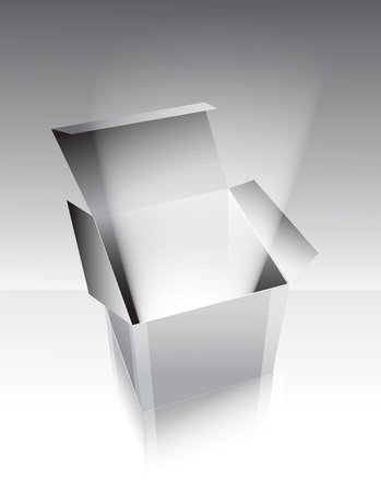 corrugated box: Gray box with light, illustration