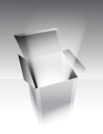 Grijze doos met licht, illustratie