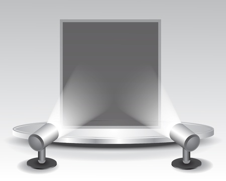 3d podium with light, illustration Vector